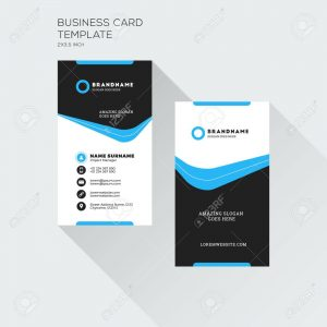 Atlantic-Ocean-Printing-Company-Vertical Business Card Print Template. Personal Visiting Card with company Logo. Black and Blue Colors. Clean Flat Design. Vector Illustration